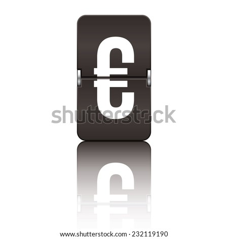 Black departure board letter euro from a series of flipboard letters. - stock vector