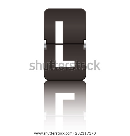 Black departure board letter l from a series of flipboard letters. - stock vector