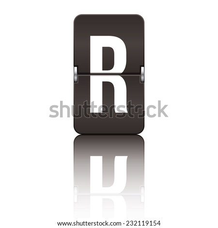 Black departure board letter r from a series of flipboard letters. - stock vector