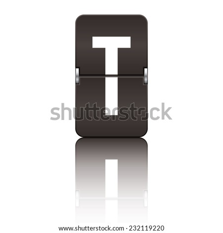 Black departure board letter t from a series of flipboard letters. - stock vector