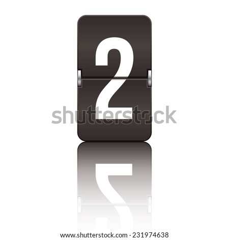 Black departure board number 2 from a series of flipboard numbers. - stock vector