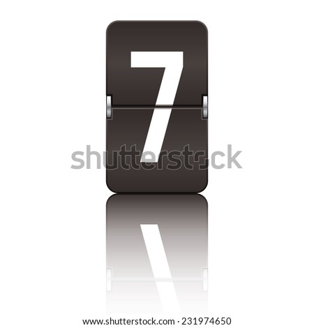 Black departure board number 7 from a series of flipboard numbers. - stock vector