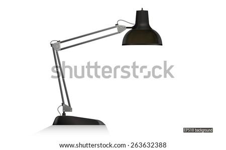 black desk lamp isolated on white - stock vector