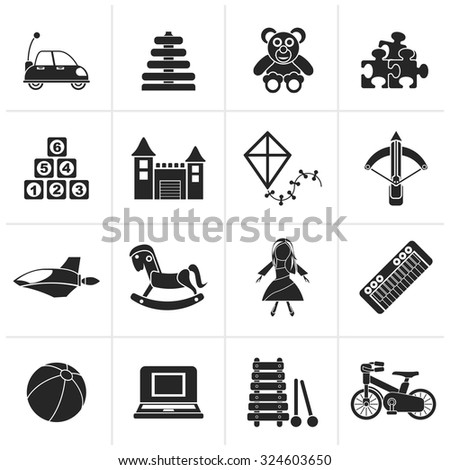 Black different kind of toys icons - vector icon set - stock vector