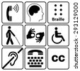 black disability symbols and signs collection, may be used to publicize accessibility of places, and other activities for people with various disabilities.vector illustration - stock photo