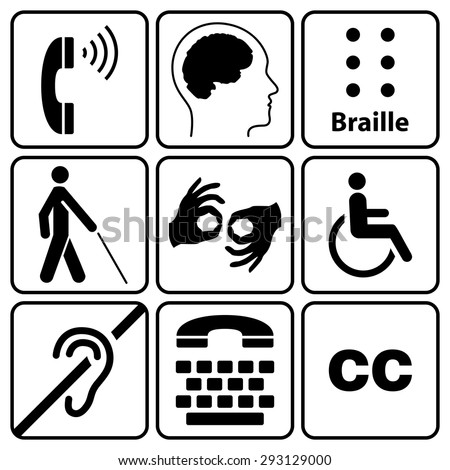 black disability symbols and signs collection, may be used to publicize accessibility of places, and other activities for people with various disabilities.vector illustration - stock vector