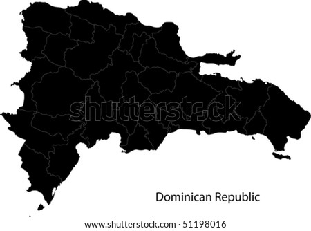 Black Dominican Republic map separated on the provinces - stock vector