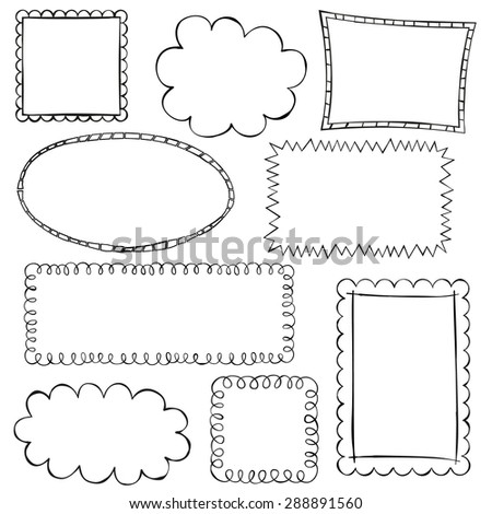 Black doodle frames on white background - stock vector