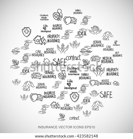 Black doodles flat Hand Drawn Insurance Icons set In A Circle on White background. EPS10 vector illustration.