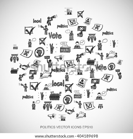 Black doodles flat Hand Drawn Politics Icons set In A Circle on White background. EPS10 vector illustration.