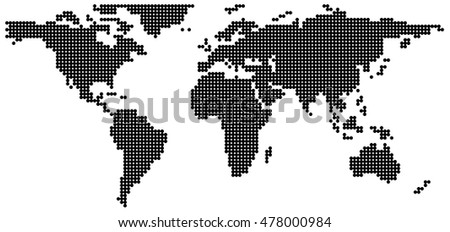 Black dot in world map background