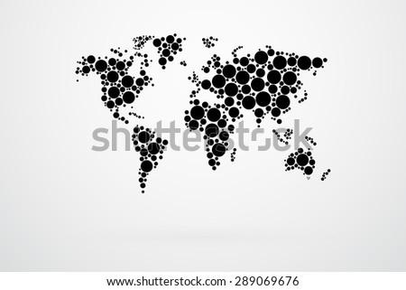 Black dots world map vector stock vector 2018 289069676 shutterstock black dots world map vector gumiabroncs Gallery