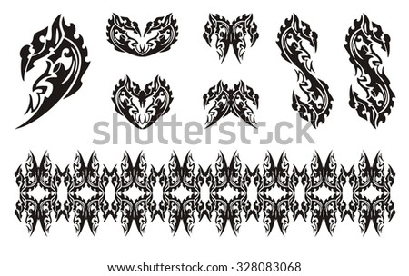 Black dragon head symbols in tribal style. Dollar dragon form, dragon hearts, dragon butterfly and dragon stripe - stock vector