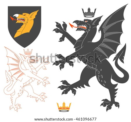 Black Dragon Illustration For Heraldry Or Tattoo Design Isolated On White Background. Heraldic Symbols And Elements