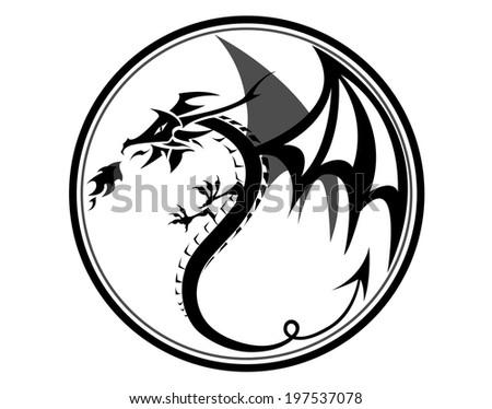 Black dragon in circle.Vector draw by illustrator.  - stock vector