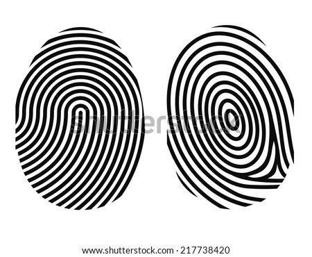 black drawing vector fingerprint on white background - stock vector