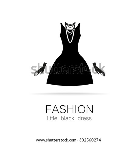 Black dress - classic fashion. Template logo for a clothing store, women's boutique brand women's dresses. - stock vector
