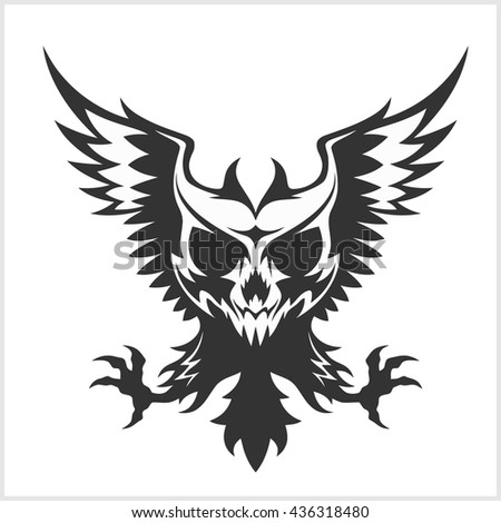 Black eagle and skull - isolated on white - stock vector