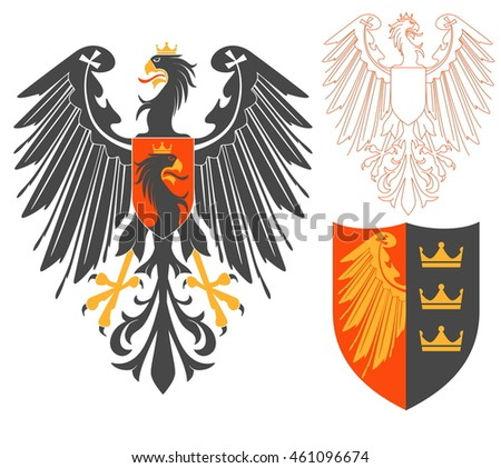 Black Eagle Illustration For Heraldry Or Tattoo Design Isolated On White Background. Heraldic Symbols And Elements