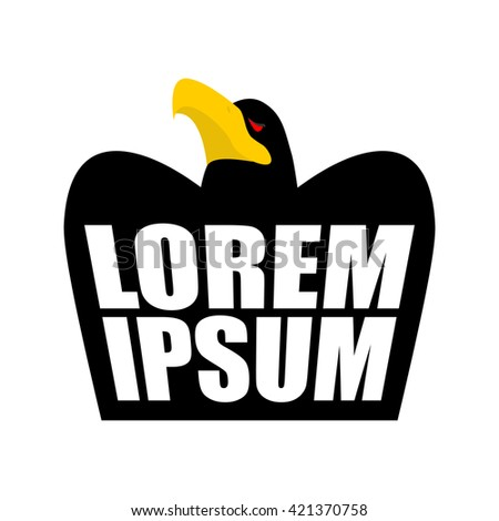 Black Eagle logo. Black Crow sign. head of hawk emblem. bird of prey wit large beak on white background - stock vector