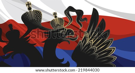 Black eagle on a background of the Russian flag - stock vector
