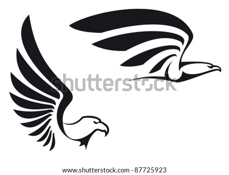 Black eagles isolated on white background for mascot or emblem design, also a logo idea. Rasterized version also available in gallery - stock vector