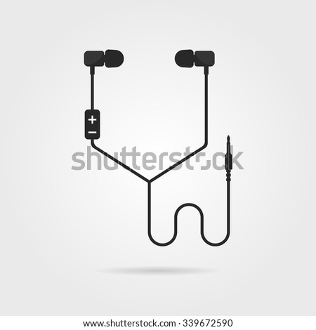 black earphones with shadow. concept of meloman items, earbud, ear plugs, multimedia, hipster lifestyle, tune. isolated on gray background. flat style trend modern logo design vector illustration - stock vector