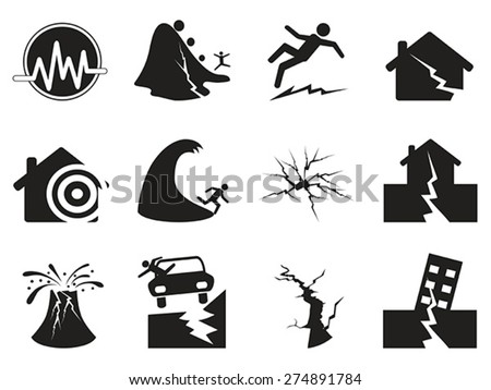 black earthquake icons set - stock vector