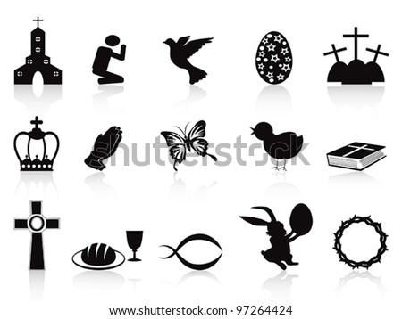 black easter icons set - stock vector