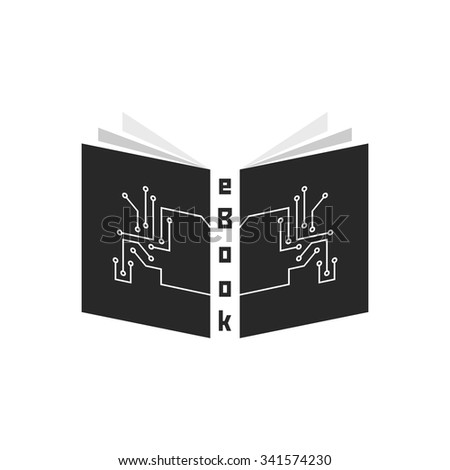 black ebook with pcb elements. concept of ereader, tablet, e-learning, gadget, periodical press, schooling. isolated on white background. flat style trend modern logotype design vector illustration - stock vector