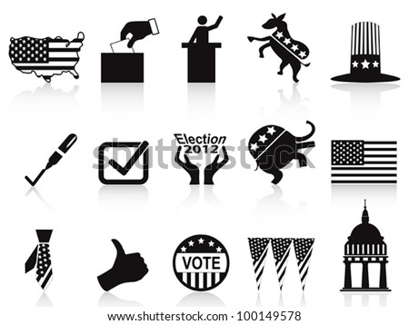 black election icons set - stock vector