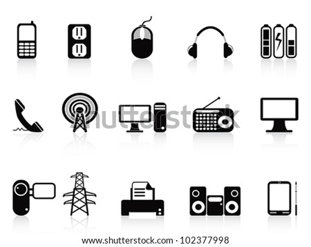 black electronic icons set - stock vector