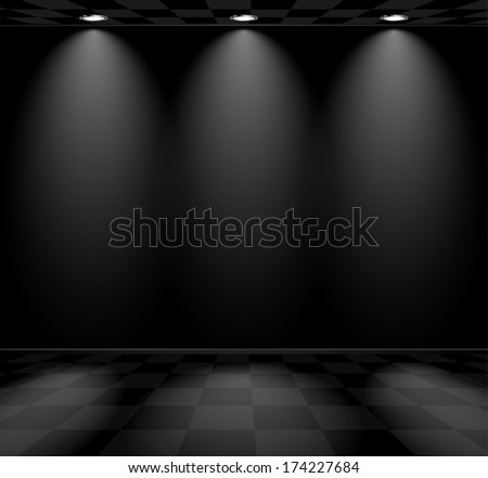 Black empty room with checkered floor and lamps - stock vector