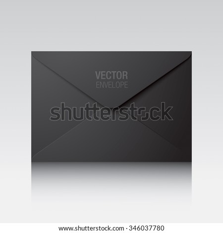 Black envelope. Vector envelope isolated on a background. - stock vector