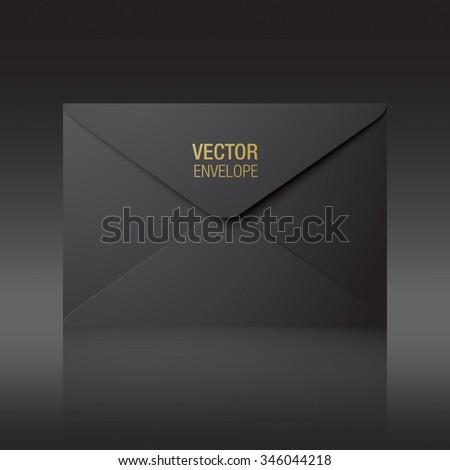 Black envelope. Vector envelope standing on a background. - stock vector
