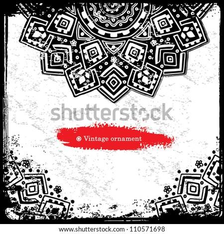 Black Ethnic Ornament - stock vector