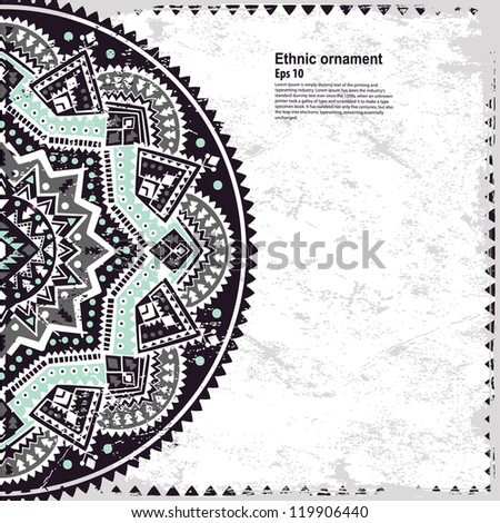 Black Ethnic ornament with vintage background can be used as greeting card - stock vector