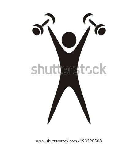 Black exercising figure with dumbbells on white background - stock vector