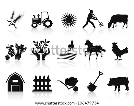black farm and agriculture icons set - stock vector