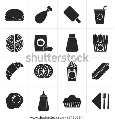 Black fast food and drink icons - vector icon set - stock vector