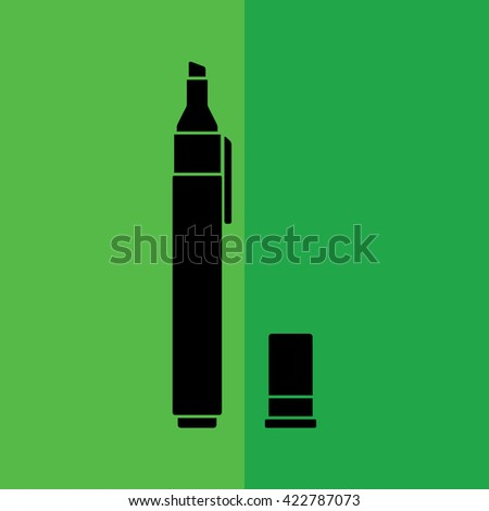 Black felt pen icon. Pencil vector illustration. Green background
