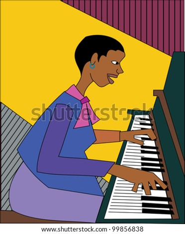 Black female musician playing the piano
