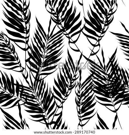 black fern leaves on a white background. Seamless pattern. modern palm leaves - stock vector
