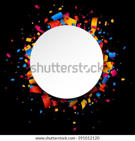 Black festive background with color confetti. Vector illustration. - stock vector