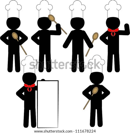 Black figure of a cook - stock vector