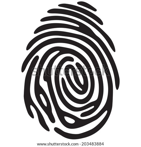Black finger print. Isolated in white vector fingerprint - stock vector