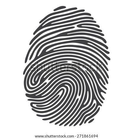 Black Finger Print. Vector fingerprint illustration - stock vector