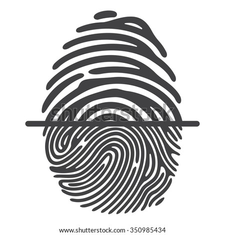 Black fingerprint isolated on white background. Elements of identification systems, security conception, apps icons. Vector illustration. - stock vector