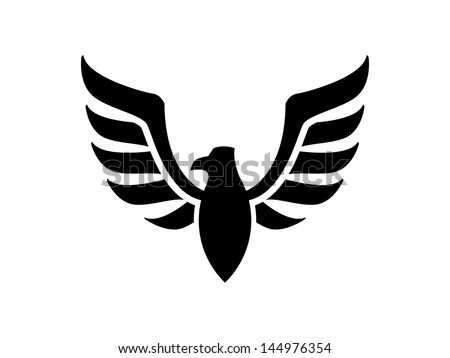 Black Fire Bird Insignia - stock vector