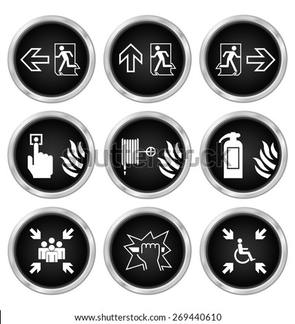 Black fire escape related icon set isolated on white background - stock vector